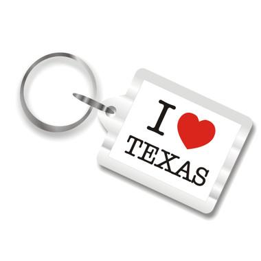 I Love Texas Plastic Key Chain