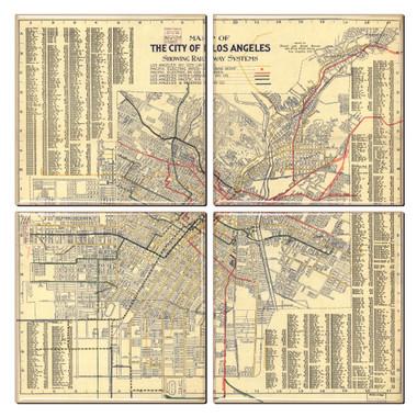 Los Angeles Map Coaster Set of 4