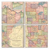 Minnesota Map Coaster Set of 4