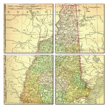 New Hampshire Map Coaster Set of 4