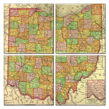 Ohio Map Coaster Set of 4