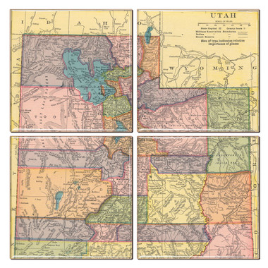 Utah Map Coaster Set of 4