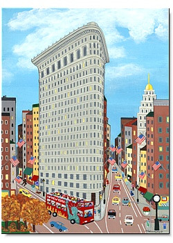 Flatiron Building Art Scene Note Cards