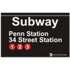 Replica Subway 34 Street Station Penn Station Sign