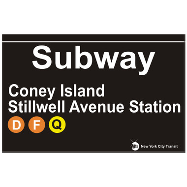 Coney Island Replica Subway Sign