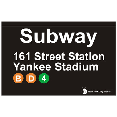Yankee Stadium Replica Subway Sign