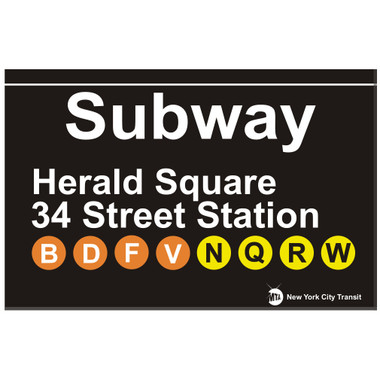 Herald Square 34th Street Replica Subway Sign