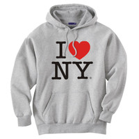 Gray I Love NY Sweatshirt Hooded
