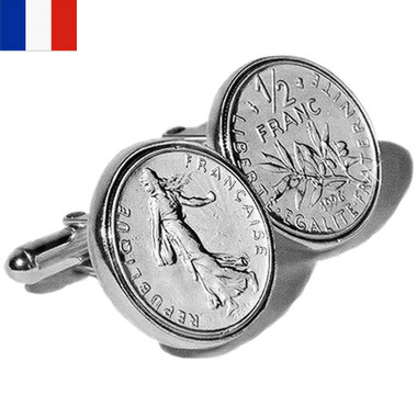 Sterling Silver Franc Coin French Cufflinks