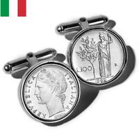 Sterling Silver Lire Coin Italian Cufflinks