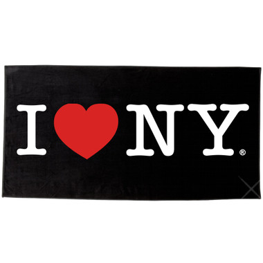 Black I Love NY Beach Towel and Bath