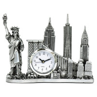 syline New york city clock with statue of liberty, freedom tower, empire state building, chrysler building and brooklyn bridge