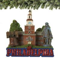 Philadelphia Christmas Ornament, Landmarks Glitter