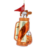 Golf Clubs and Bag Ornament Glass