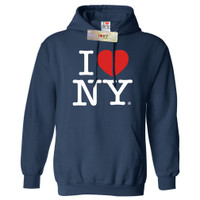 I Love NY  Sweatshirt, Navy Hooded