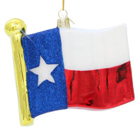 Texas Christmas Ornament, glass state flag