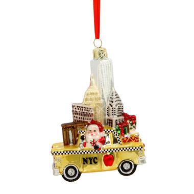 NYC Landmarks Taxi Glass Ornament