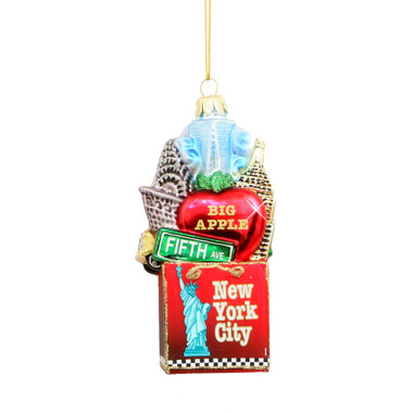 New York City Shopping Glass Ornament