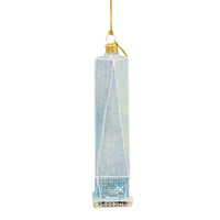 "6"" Glittered Freedom Tower Glass Ornament"