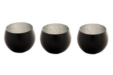 COPAN Tea Light Candle Holder - Antique Bronze with Silvered Interior. Set of 3.