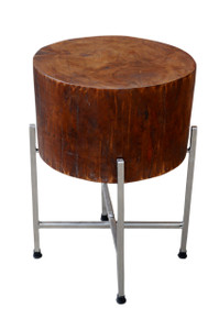 STAN Round Wood Block Accent Table