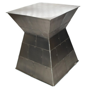 Square Modernist Silver Accent Table CAPE