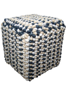WILLA Square Wool Pouf in Off-White, Sand and Charcoal Pattern