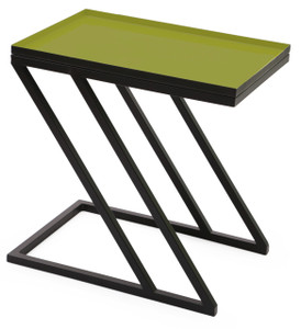 MOSS tray side table in enameled green