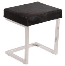 COCO Rectangular Chocolate Brown Cow Hide Stool on Silver Metal Base
