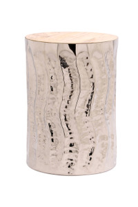 WAVE Silver Metal Round Accent Drum Table with Natural Wood Top