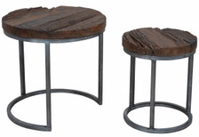 KALLA round nesting tables in wood with silver base