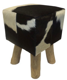 BRUNO square pouf, table, stool in black & white cowhide