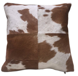 HEIFER double sided square brown & white cow hide pillow