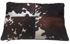 DEXTER rectangular brown & white cow hide pillow. Double sided.