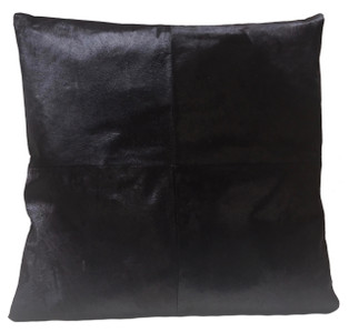 Black Cow Hide Euro Pillow EBONY. Euro pillow size.