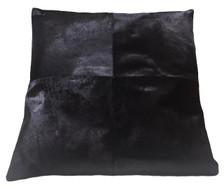 Black Cow Hide Euro Pillow EBONY. Euro pillow size.