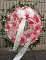 Standing Flower Wreath With Pink Carnations