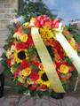 Funeral  Standing Wreath With Bright Flowers