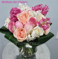 Romance Vase Arrangement With Bright Flowers