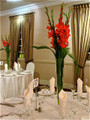Event Table Centerpiece With Red Gladiolas