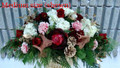 Holiday Centerpiece Burgundy And White Flowers