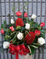Christmas Flower Basket White And Red Flowers