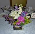 Lilac, Peoni, Hydrangea Table Centerpiece  In 5 Inches Square Vase