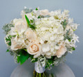 White Gerbera, Calla Lilies And RosesTable Centerpiece In A Square Vase