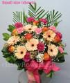 Traditional Tribute Flower Arrangement With Gerberas