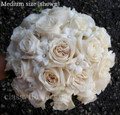 bridal bouquet ivory roses and stephanotis