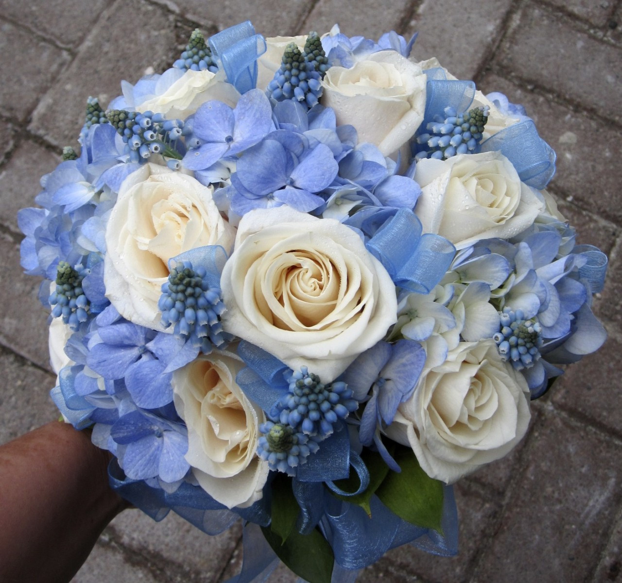 bridal bouquet blue hydrangea and ivory roses. Black Bedroom Furniture Sets. Home Design Ideas