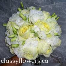 bridal bouquet with garden roses and lisiantus