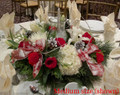 Round Christmas Centerpiece With Vase and Candle