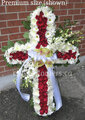 "30"" Standing Cross With Red And White Flowers"